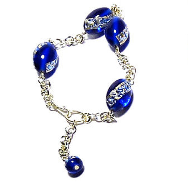 Bracelet Perles sur feuille d'argent