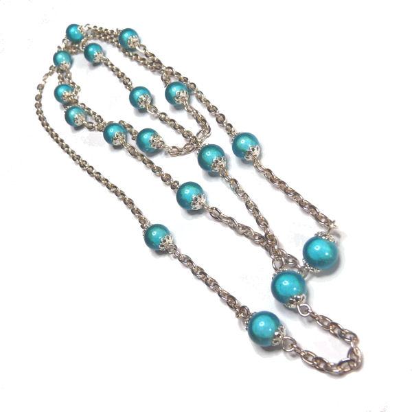 Sautoir perle magique turquoise